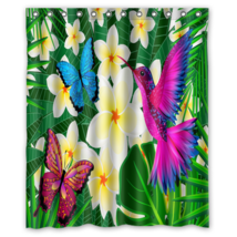 Hummingbird And Butterfly #01 Shower Curtain Waterproof Made From Polyester - $29.07+