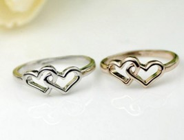 18K RGP Heart in Heart Alloy Cocktail Ring(Size:Platinum-16.5) - $7.69