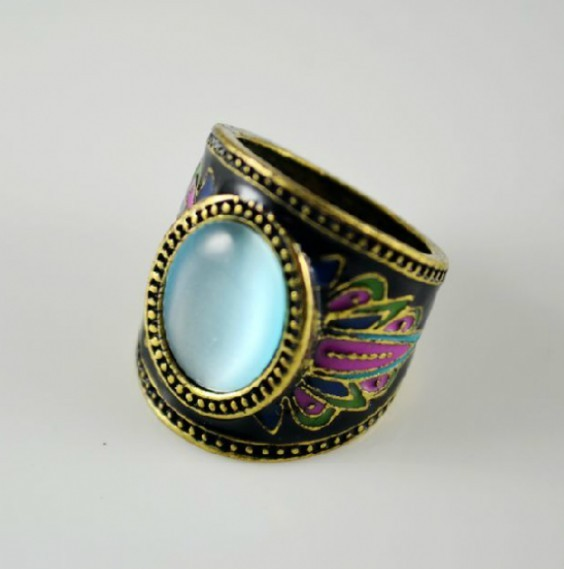 Primary image for Hot Fashion Faux Gem Centered Women's Vintage Cocktail Ring(blue)