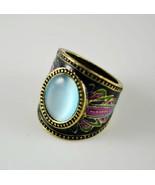 Hot Fashion Faux Gem Centered Women's Vintage Cocktail Ring(blue) - $7.39
