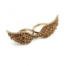 Vintage Rhinestone Wings Double Finger Ring - $6.99