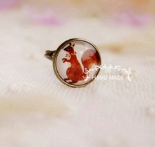 Chic Forest Squirrel Medal Acrylic Cocktail Ring - $6.99