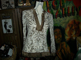 Anthropologie Pathway Adorable Cocoa+Cream Blouse Size S - $13.86