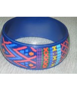 Estate Blue with Pink Green Orange & White Faux Mosaic or Needlework Pla... - $7.69