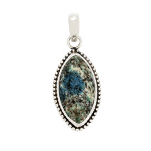 925 Sterling marquise shape K2Azurite gemstone silver pendant SHPN0200 - $19.99