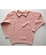 Knit Top Sweater Light Salmon Color Long Sleeve, Collard Size S 100% Cotton - $10.18