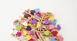 30pcs Mini Heart Wood paper clips,Wooden Pegs Scrapbooking,Pin Clothespin - $3.50