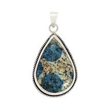 Sterling pear shape K2Azurite gemstone 925 silver pendant SHPN0202 - $23.64