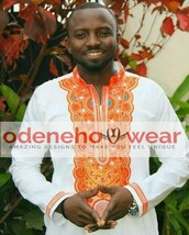 Odeneho Wear Men's White Polished Cotton Top/Bottom  Embroidery.African Clothing - $128.69+