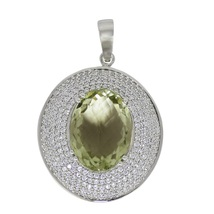 Hight quality silver pendant 925 sterling cubic zirconia & green amethyst SHPN02 - $86.00