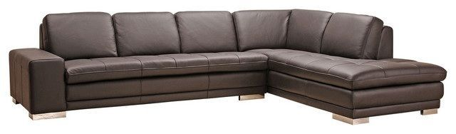 BH Block Italian Leather Sectional Sofa Right Hand Chaise Transitional Style