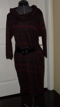 Bobbie Brooks Knit Dress Size L Wine Black Stretch Belt Nwt - $19.94