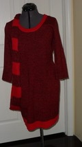 Bobbie Brooks Knit Sweater Dress Size L Red Black Scarf Nwt - $19.94