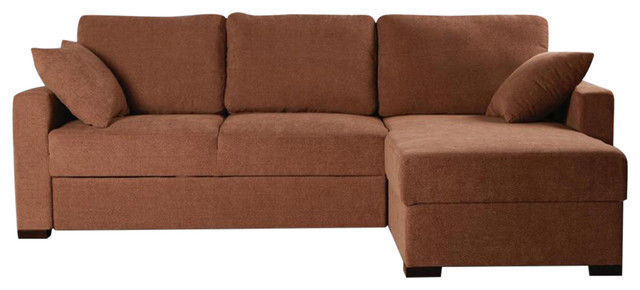 BH Incognito Cocoa Sectional Sofa Storage Right Hand Chaise Transitional Style