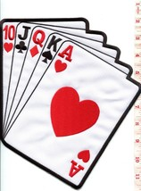 Straight poker playing cards applique iron-on patch XL 8.75 X 9.12 inches S-1275 - $9.89