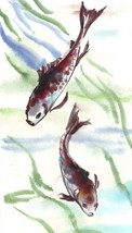 "Akimova: FISH ,pond life, animal, approx. size 5.75""x11"", blue - $7.00"