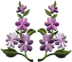 Lavender pink wild flowers pair floral boho appliques iron-on patches ne... - $3.95