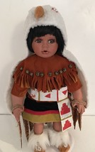 TIMELESS COLLECTION BIG PORCELAIN INDIAN NATIVE AMERICAN BOY W/HEADPIECE... - $39.59