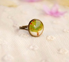 Chic Forest Apple Tree Medal Acrylic Cocktail Ring - $6.99