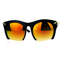 Cropped Cutoff Sunglasses Oversized Womens Designer Fashion Mirror Lens - $9.95