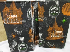 Halloween Spooky Haunted House Skull Spider Vinyl Tablecloth Decor ALL SIZES - £11.38 GBP