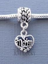 ONE Charm MOM Pendant Dangle Large Hole bead. Fits European Charm Bracelet C86 - $2.96