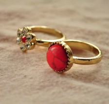 Antique Gold Tone Red Crackled Stone and Flower Women's Double Finger Ring - $6.99