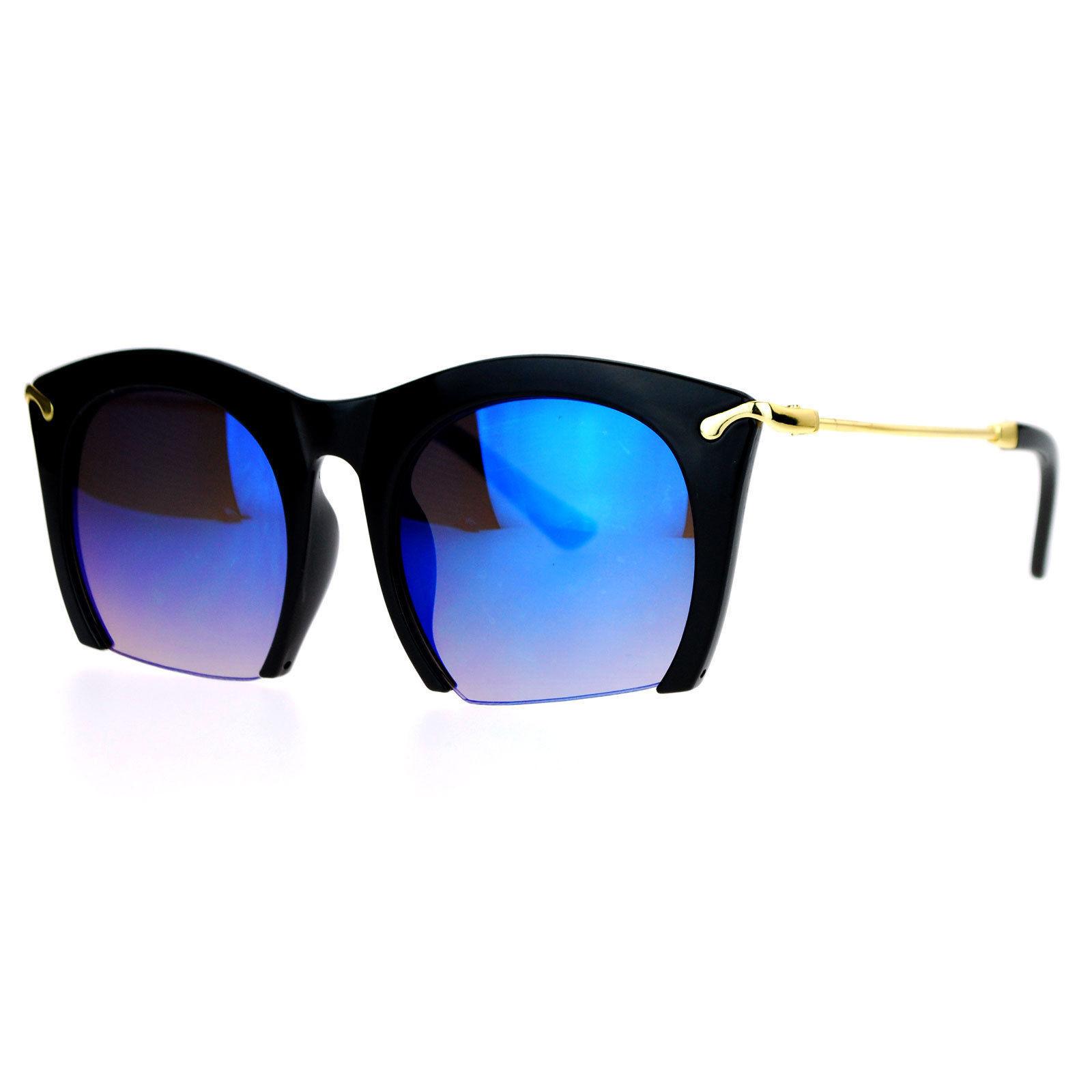 Cropped Cutoff Sunglasses Oversized Womens Designer Fashion Mirror Lens