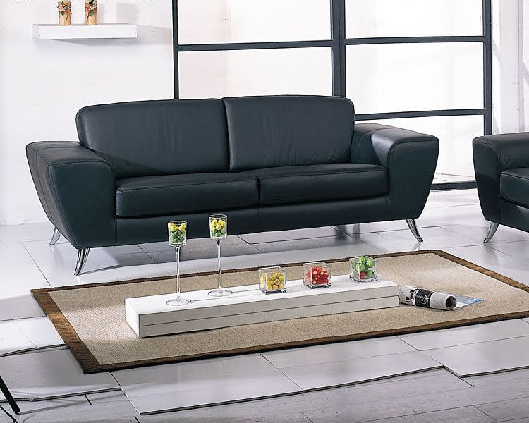 BH Julie Living Room Sofa Set 2pc. Black Top Grain Leather Modern Style
