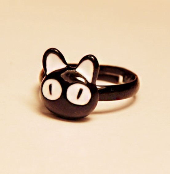 Primary image for Women's Super Cute Black Cat Adjustable Cocktail Ring