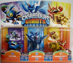 Skylanders Giants Pop Fizz, Whirlwind, Trigger Happy, Triple Character pack - $13.95