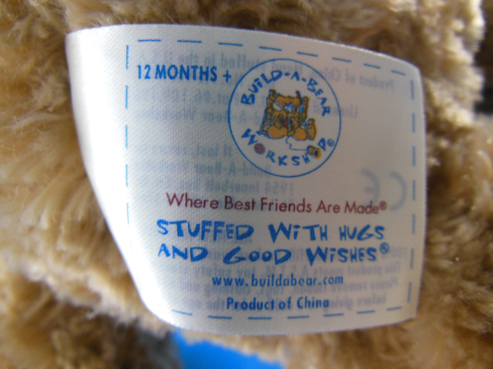 "Build A Bear Big Large head Bearemy 2012 Cool School Plush Bear BABW 19"" curly"
