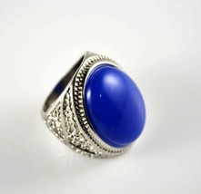 Fashion Vintage Silver Tone Women's Cocktail Ring with Blue Stone - $5.99