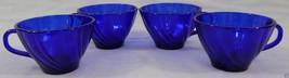 Duralex Rocco Bormioli France Rivage Cobalt Blue 4 Piece Cup Swirl Desig... - $13.36