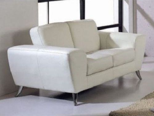 BH Julie Living Room Sofa Set 2pc. White Top Grain Leather Contemporary Style