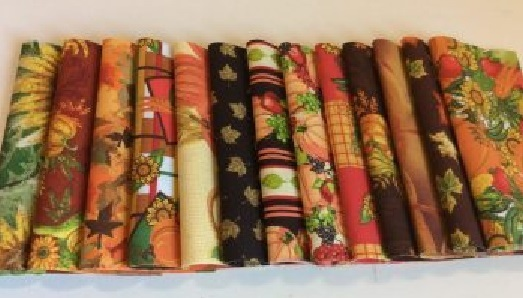 Fall Harvest 5x5 100% cotton fabric squares cross stitch quilt finishing  - $14.00