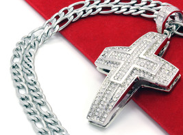 """Men Small Plus Cross Silver Plated Iced Out Pendant 30""""  Stainless Steal... - €11,71 EUR"""