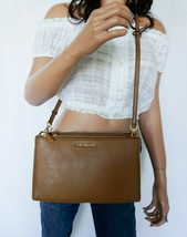 NWT MICHAEL KORS CROSSBODIES DOUBLE ZIP LEATHER CROSSBODY BAG ACORN BROWN - $89.09