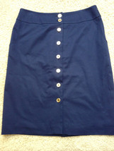 TALBOTS PETITES 10P Lined Navy Blue Button Fron... - $14.43