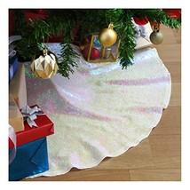 Glitter Christmas Tree Skirt 24 Inches Round Small Sequin Tree Skirt Iri... - $13.11
