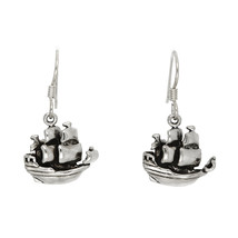STERLING SILVER CARRIBEAN PIRATE SHIP EARRINGS - $45.77