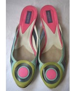 EMILIO PUCCI Made in Italy Mod Pink Green Slip On SHOES Euro 36 GORGEOUS... - $159.65