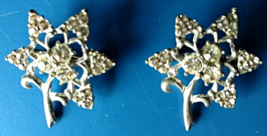 Vintage Jewelry Broaches Rhinestone Star Flower Pin Back Silver Tone Set... - $49.99