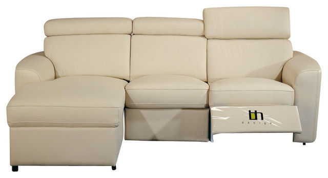 BH Mica Beige Sectional Sofa Top Grain Leather Left Facing Contemporary Style