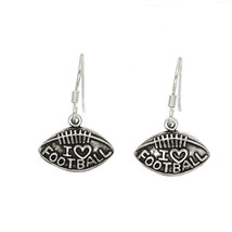 STERLING SILVER I LOVE FOOTBALL EARRINGS - $32.68