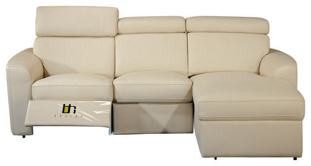 BH Mica Beige Sectional Sofa Top Grain Leather Right Facing Contemporary Style
