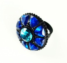Women's Dome Shaped Blue Gem Adjustable Cocktail Ring - $5.99