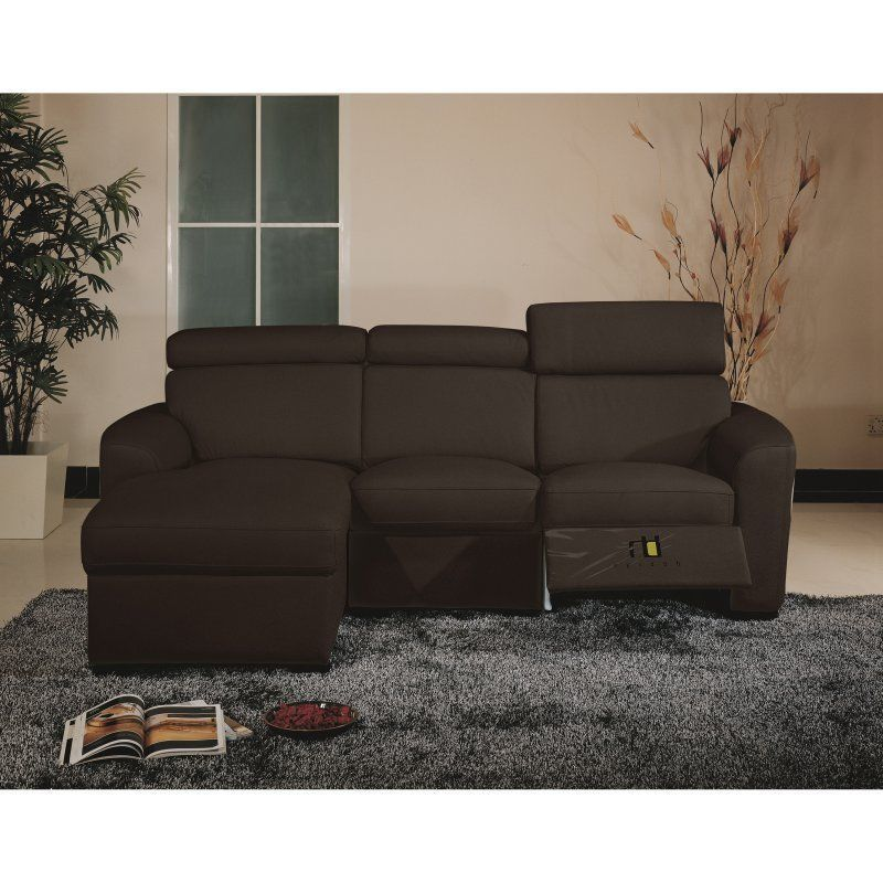 BH Mica Brown Sectional Sofa Top Grain Leather Left Facing Contemporary Style
