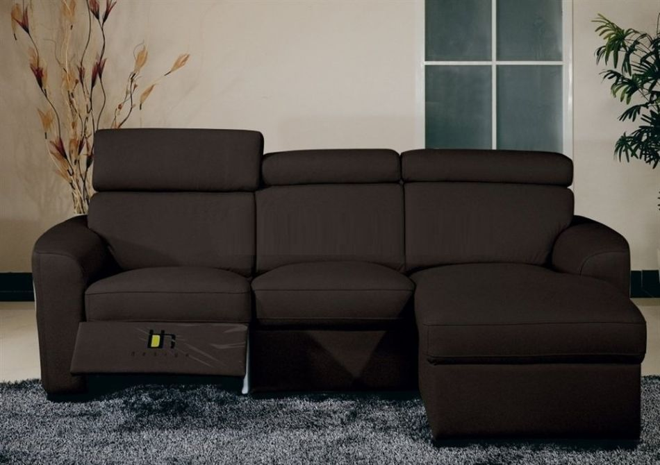 BH Mica Brown Sectional Sofa Top Grain Leather Right Facing Contemporary Style