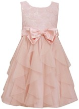Little Girls 2T-6X Pink Sequin Flutter Floral Cascade Mesh Ruffle Social Dress